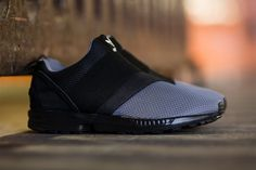adidas Originals ZX Flux Slip On Granite/Carbon/Core Black - Tags: sneakers, low-tops, minimal, gray mesh, elastic strap Me Too Shoes, Men's Shoes, Nike Shoes, Shoe Boots, Adidas Sneakers, Black Sneakers, Shoes Style, Adidas Originals Zx Flux, Baskets
