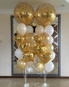 Gold and white balloons Golden Birthday, 50th Birthday Party, Birthday Party Decorations, Balloon Bouquet, Balloon Garland, Balloon Decorations, White Balloons, Confetti Balloons, Wedding Balloons