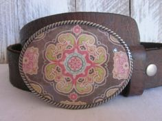 Rustic brown pink green and turquoise flower bohemian hippie gypsy cowgirl Belt buckle on Etsy, $25.00