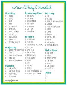Free Printable New Baby Checklist | Baby Essentials ...