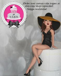Fondant Girl With Hat I made this cake topper for an etsy customer based off a poster. She's almost 12 inches tall :) Fondant Figures, Fondant Cake Toppers, Custom Cake Toppers, Fondant Cakes, Cupcake Cakes, Cupcake Toppers, Fondant Girl, Fondant People, Cake Models