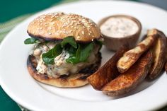 "Poblano Burgers with Chipotle Cream  ||  ""They were relatively quick to bring together, and absolutely hit the spot. Jon died and went to Heaven. We just had them last week, and he's already asking for them again. These burgers are the perfect way to kick start the grilling season!"" #tideadnthyme.com"