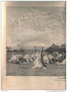 """Abendgebet in der Wüste  - Druck, entnommen  aus """"die Gartenlaube"""", 1897"""