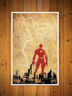 Justice League - Flash via Etsy The Flash Poster, Valiant Comics, Superhero Poster, Comic Villains, Simple Poster, Comic Drawing, Nerd Love, Black White Art, Inspirational Artwork