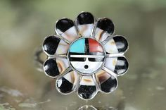 Vintage Zuni Sterling Silver Inlay Sunface Sungod Ring Morris Sadie Laahte | eBay