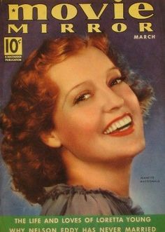 "Jeanette MacDonald on the cover of ""Movie Mirror"" magazine, USA, March 1938."