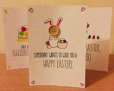 A handmade - from scratch - Easter greetings cards in three designs.