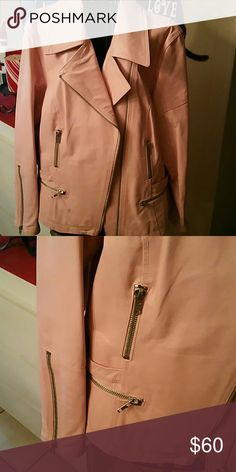 Pink motorcycle jacket, needs to worn!! SUPER CUTE BUT NEEDS SOME SOFTENING UP..NEVER WORN. PERFECT CONDITION, LINED WITH LIGHT PINK LINING together Jackets & Coats Jean Jackets