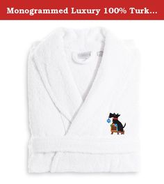 Monogrammed Luxury 100% Turkish Cotton Terry Bathrobe - Christmas Dog. Lounge in plush comfort when you slip on this cozy Monogrammed Luxury 100% Turkish Cotton Terry Bathrobe - Christmas Dog. Made of 100% white Turkish cotton, this robe features embroidery of an adorable black dog. This bathrobe is safe to machine wash for maximum convenience, and it also makes a thoughtful holiday gift. Bathrobe Size Options: Small/Medium: 47L x 20W in. Large/X-Large: 49L x 25W in. XX-Large: 51L x 26W…
