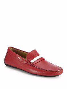 Bally Men's Shoes 'Dracon' Grained Leather Red Loafer Driver 10 US/9 UK NIB $495…