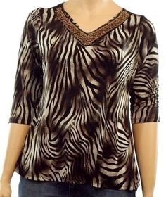 Jaclyn Smith Women's Size 1X Brown Animal Print 3/4 Sleeve Dressy Top Blouse…