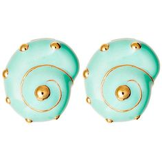 18K Gold Shell Earrings Teal Drops Earrings (4,570 PHP) ❤ liked on Polyvore