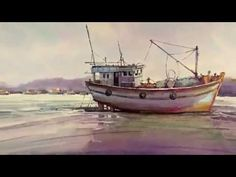 Watercolor Painting : Fishing Boats on Sea Material : Bockingford Pages A3 300g/m2 140lb Mijello Mission Gold Watercolors It Came Upon a Midnight Clear of Ke...