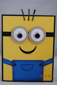 Para la tarjeta algo económico sensillo y original! Cartón amarillo pintada con tempera!