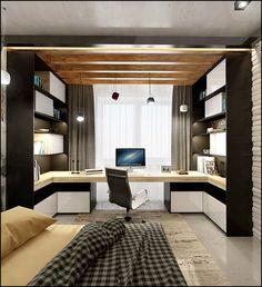 На площади в 20 квадратных метров дизайнеры создали современную спальню в стиле лофт с тщательно продуманной системой хранения и грамотно организованным рабочим местом