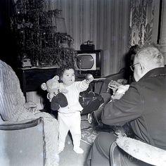 1950 Curly Hair Toddler Grandpa TV Phonograph Christmas Photo B&W Negative