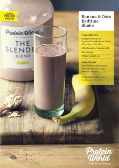 Banana and Oats Chocolate Slender Smoothie! Get off any Slender Blend today… Protein World Slender Blend Recipes, Protein Shake Recipes, Protein Foods, Vegan Foods, Protein Shakes, Smoothie Recipes, Healthy Treats, Healthy Eating, Healthy Recipes