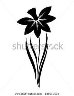abstract vector narcissus flower silhouette - stock vector