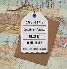 Vintage Airmail Save the Date Card  Vintage, travel, airmail themed, tag style save the date card with red and white twine detailing.  The set