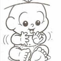 Desenho de Cebolinha baby tomando mamadeira para colorir