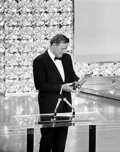 John Wayne, accepting his only Oscar for True Grit Don't even bother seeing the 2010 versions (sorry Cohen brothers)