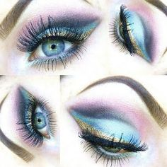 This colorful eye makeup will make your eyes pop. Click the pic to get the how-to. Colorful Eye Makeup, Simple Eye Makeup, Love Makeup, Makeup Tips, Makeup Looks, Fun Makeup, Makeup Ideas, How To Make Lipstick, How To Apply Makeup