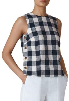 Whistles Gingham Linen Top Women – Bloomingdale's – Blusas Whistles Gingham Linen Top Women – Bloomingdale's – Blusas Sewing Clothes, Diy Clothes, Autumn Clothes, Mode Inspiration, Refashion, Dressmaking, Blouse Designs, Gingham, Ideias Fashion