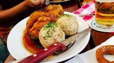 [OC] Pork knuckle and dumplings in Munich Germany.