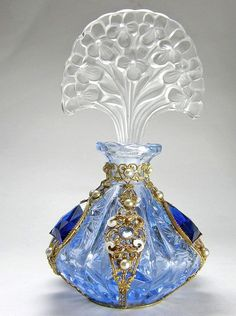 Czech Jeweled Perfume Bottle Blue with Flower Stopper by cristina