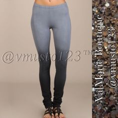 """💟 OMBRÉ BLACK 💟 & GREY PREMIUM LEGGING 🇺🇸MADE IN USA- PREMIUM COLLECTION  Adorable Ombre dye leggings with elastic waistband. Each item is hand-dyed, should expect slight variations.  Super stretchy and so comfy!!!   Content: 93% Cotton 7% Spandex   S(2-4) M(6-8) L(10-12) fits true to size - chart on pic 4 Model is 5'7"""" wearing small ‼️PRICE ABSOLUTELY FIRM‼️ THESE ARE 🇺🇸MADE IN USA🇺🇸  BOUTIQUE QUALITY YOU MAY BUNDLE FOR A DISCOUNT ValMarie Boutique Pants"""