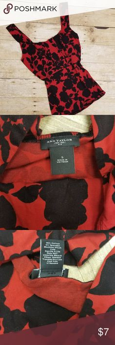 """Ann Taylor Floral Tank . Red and black floral tank top . Size Small / Length 23.5"""" / Chest 14"""" Ann Taylor Tops Tank Tops"""