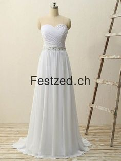 Herzausschnitt A-Linie Weiß Chiffon Brautkleider