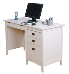 Elegant modern shaker style desk with crisp white finish, groove detailing and burnished cup handles. For £197.50 Only