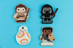 NEW  TO ETSY SHOP    The Force Awakens Disney's Star Wars inspired Finger Puppet Set    Price: $10.00.    Love Star Wars? Do you know all the lines by heart? Well now you can be a part of the action! Get your very own set of Star Wars characters! Guaranteed to be a smash hit with the kids! Or if you're a fun loving adult they are fantastic for you as well!     Have fun with Rey, Fin, BB8 and Kylo Ren!    These felt finger puppets will have you defeating the dark side across the galaxy as you…