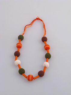 25 % OFF SALE - Necklace with crocheted balls