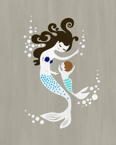 """8X10"""" mermaid mother and baby boy. giclee print on fine art paper. gray, navy, blue, brown, black. textured background. on Etsy, $19.00"""
