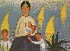 Motherhood, 1921 by Salvador Dali. Expressionism, Pointillism. portrait