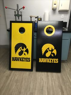 Iowa Hawkeyes CornHole Boards with built in bag storage.