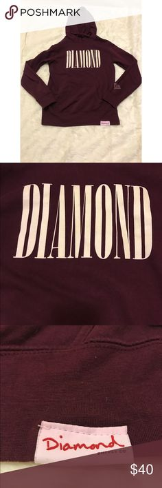 Diamond Supply Co hoodie This Diamond Supply Co hoodie is a burgundy color with cream colored lettering. The only flaw is that the tag at the bottom has turned a light pink from washing, other than that perfect condition! Diamond Supply Co. Tops Sweatshirts & Hoodies