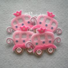DOUBLE LAYERS Princess Carriage Felt Applique - Set of 4 pcs