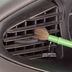 Brush Out the Air Vents: These louvers are a real magnet for dust, and a vacuum with a brush attachment just won't get it all. Take an inexpensive artist's paintbrush and give it a light shot of furniture polish. Work the brush into the crevices to collect the dust. Wipe the brush off with a rag and move on to the next one.