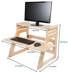 desk to a stand up desk relieves back pain made in usa of premium birch plywood height converter u0026 riser for keyboard monitor computer laptop