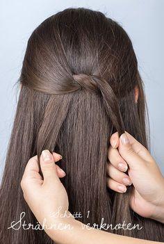 Frisuren Tutorial: Mehrfach geknotete Banane - Strähnen abteilen und verknoten Dream Hair, Cute Hairstyles, Trends, Hair Inspiration, Hair Cuts, Hair Color, Hair Beauty, Long Hair Styles, Lady