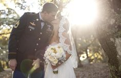 I love the sweet, old-fashioned bridal veils, oh yeah and a groom in uniform.