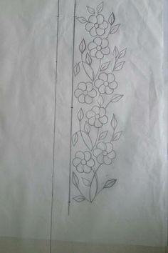 Resultado de imagem para hand embroidery designs for neck Border Embroidery Designs, Floral Embroidery Patterns, Hand Embroidery Flowers, Hand Embroidery Stitches, Beaded Embroidery, Machine Embroidery Designs, Bordado Floral, Quilling Designs, Sewing Art