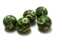 5 round multicolor beads original handmade by OrlyFuchsGalchen