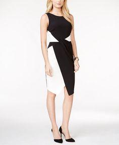 INC International Concepts Draped Colorblocked Dress