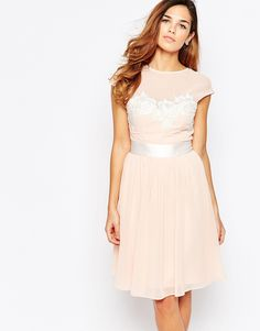 Elise+Ryan+Midi+Skater+Dress+With+Floral+Lace+Applique