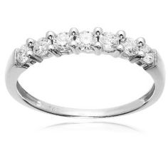 14k White Gold 7-Stone Shared-Prong Diamond Ring (1/2 cttw, I-J Color, I1-I2 Clarity), Size 8, (promise ring, anniversary band, white gold, 14k white gold, womens wedding bands, 10 k diamond ring, rings, small diamonds)