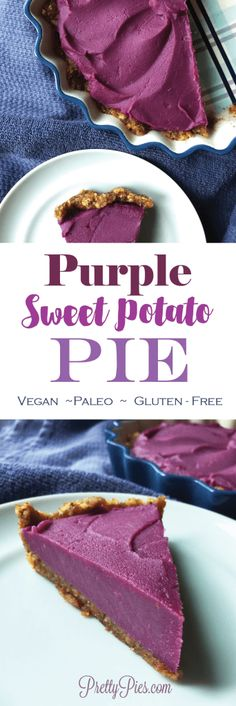 So much better than an average sweet potato pie. It's GORGEOUS and naturally colored with purple sweet potatoes! Much healthier, too NOT your average sweet potato pie. Simply GORGEOUS purple pie that's sure to wow your family on Thanksgiving ; Vegan Sweet Potato Pie, Sweet Potato Dessert, Sweet Potato Recipes, Paleo Vegan, Vegan Pie, Whole Food Recipes, Dessert Recipes, Free Recipes, Purple Sweet Potatoes